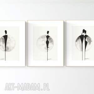 zestaw 3 grafik a4 wykonanych ręcznie, grafika czarno-biała, abstrakcja, 2969614