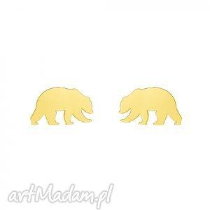 złote kolczyki niedźwiedzie - wkrętki, sztyfty, modne