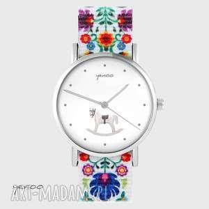 zegarek - konik na biegunach folk biały, nato, zegarek, bransoletka