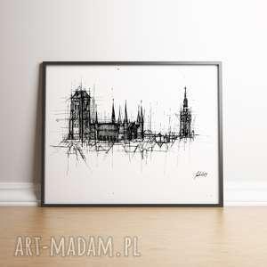 gdańsk bazylika mariacka czarno biała, gdańsk, bazylika, panorama, plakat