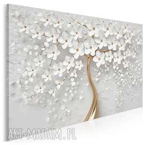 Obraz na płótnie - drzewo biały złoty kwiaty 120x80 cm 98401