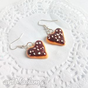 hand-made kolczyki kolczyki - serduszkowe ciasteczka z polewą czekoladową