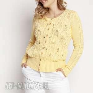 handmade swetry ażurowy wiosenny sweterek, swe47 żółty mkm