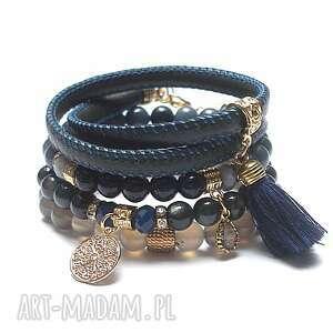 dark blue and grey vol 7 08-01-19/- set, agat, jadeit, noc kairu, skóra rzemień