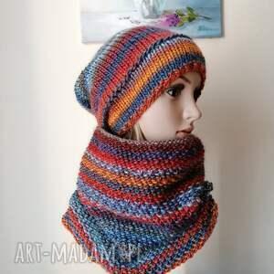 z borówką zimowy komplet, rękodzieło, bezszwowa czapka na druta, ręcznie