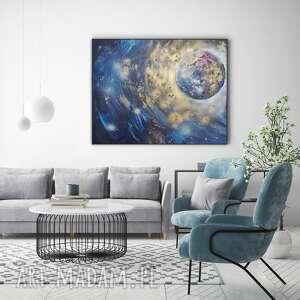 płonąca planeta ręcznie malowany obraz 100x80 cm, faktura 3d
