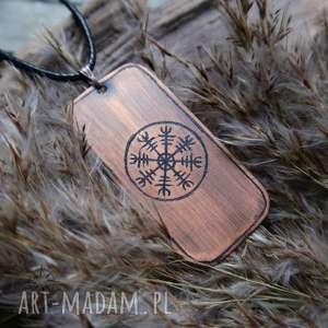 Wisior z trawionej miedzi Aegishjalmur [001], wiking, wikingowie, aegishjalnur, runa