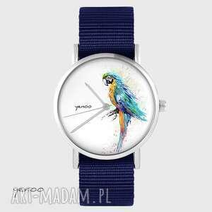 zegarki zegarek yenoo - turkusowa papuga granatowy, nato, zegarek, pasek