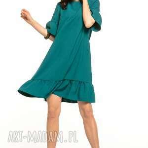Letnia sukienka z falbanami, t315, szmaragdowa sukienki tessita
