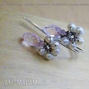 srebro kolczyki kwarce perły, kwarce, kolczyki, srebro