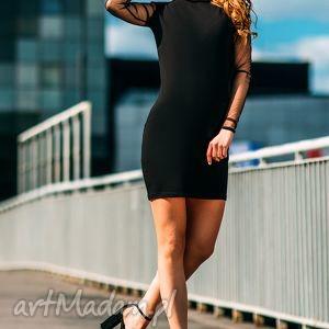 sukienka mini z tiulowymi rękawami i odkrytymi plecami t121 kolor czarny - tessita