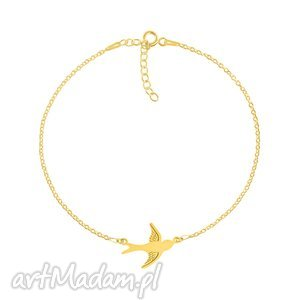 celebrate - swallow connector bracelet g, jaskółka, celebrytka, srebro, pozłacana