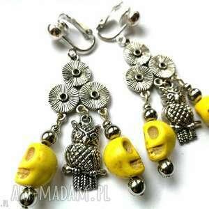 klipsy żółte z czaszkami bohemian-box r1- wykonane w pojedynczym egzemplarzu