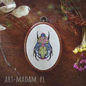 dekoracje obrazek haftowany chrząszcz, obrazek, haftowany, tamborek, dekoracja