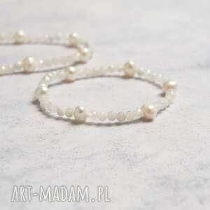 kamień księżycowy perły bransoletka, amulet, perły