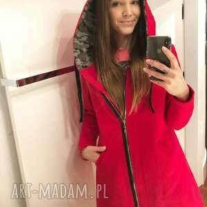 bluza damska na zamek czerwona z moro, fashion, desing, styl, moda
