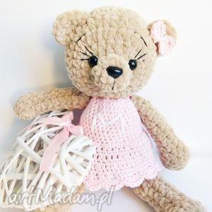 hand-made dla dziecka pluszowa panna misia - jasny róż