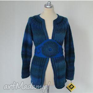swetry sweter w błękitach z ozdobnym pasem, sweter, sweterek, blezer, pas, unikat