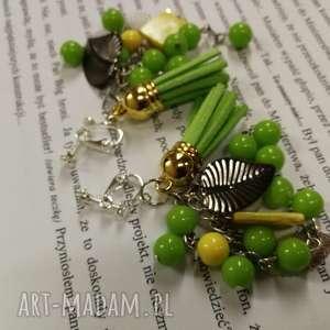 klipsy wiosenne zielone koraliki lekkie, klipsy, etno, boho, kolorowe, fredzle
