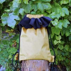 plecak bbag muse, aksamitny, welurowy, zamszowy, laptop, musztardowy, prezent