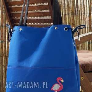 torba z haftem - flaming, torba, prezent, haft, plaża, torebka