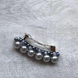 ozdoby do włosów perełkowa spinka, perła, szary