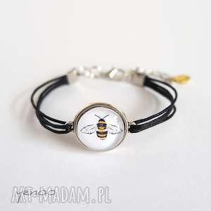 bransoletka - pszczoła sznureczki, czarna, bransoletka, szkło