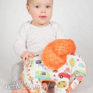 mięciutki słonik - minky bawełna pomarańczowy camping, zabawka, prezent