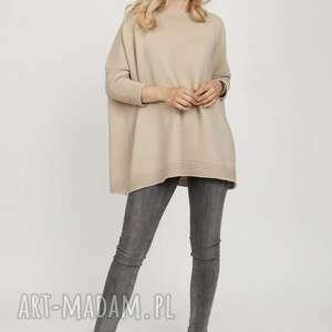 swetry dzianinowa bluza - swe221 beż mkm, dzianina, bluza, wiosna, bawełna