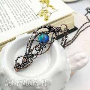 moon light - naszyjnik z wisiorem z pięknym szkłem - naszyjnik wisior, szkło