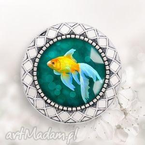 broszka zŁota rybka - szczęście, prezent, unikatowa, ryba, ryby, morska
