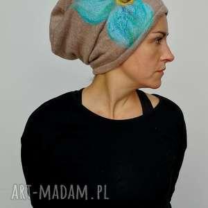 czapka wełniana damska etno boho filc, wełna zima