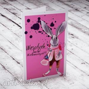 wielkanocna karteczka z zającem, kartki, wielkanoc, królik, zając, życzenia
