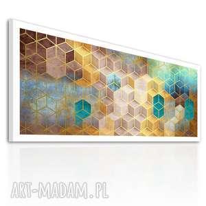 Abstrakcja Sześciany w barwach ziemi 120x50 - nowoczesny obraz na płótnie 02-255