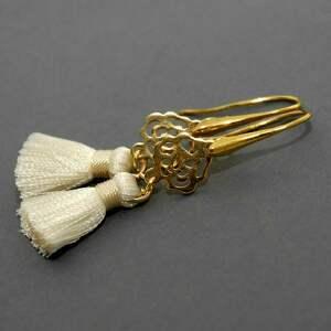 kolczyki z chwostami, sznurek, eleganckie, wiszące, wieczorowe, małe, chwost