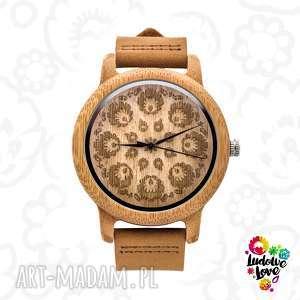 Drewniany zegarek WYCINANKA, dodatek, folklor, folk, modny, ludowe, etniczne