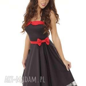 piękna rozkloszowana sukienka pin up czarna, retro