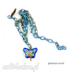motyl cloisonne - niebieska bransoletka, cliosonne, malowane, cieniowana
