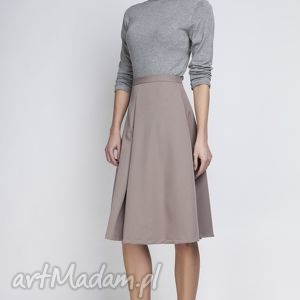 Spódnica, SP110 beż, elegancka, rozkloszowana, kobieca, kontrafałda, matura, urodziny