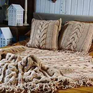 woolbyme beżowy komplet koc poduszki, i narzuta, pled, warkocze