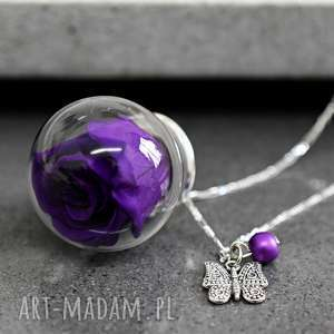 naszyjniki 925 srebrny łańcuszek prawdziwa róża fiolet, róża, kwiat, natura