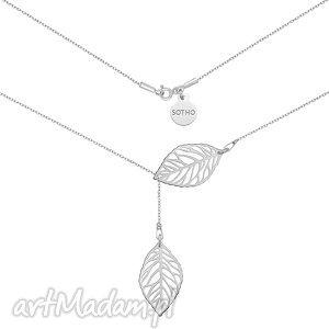 srebrny regulowany naszyjnik z aŻurowymi listkami - modny, naszyjnik, srebro