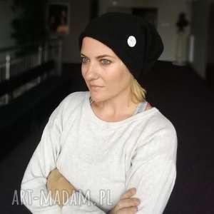 czarna zimowa czapka damsko-męska handmade, wełna etno, folk boho, mama