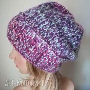 mrożone jeżyny czapka - rękodzieło, czapka, bezszwowa, prezent, zima