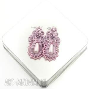 kolczyki soutache lace pink, sutasz, soutache, koronkowe, pudrowe, róz, kobiecie