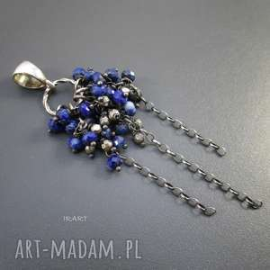 Wisior z lapis lazuli, srebro, oksydowane,