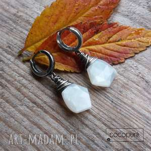 kolczyki asymetryczne - srebro i kamień księżycowy, minimalistyczne