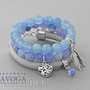 ręcznie zrobione bransoletki blue agat & gray strap set