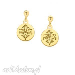 złote kolczyki z rozetkami - sztyfty, srebro rozety, modne, boho