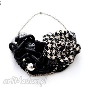 rebel heart naszyjnik handmade - naszyjnik, czarny, pepitka, czarnobiały